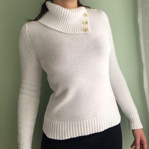 Banana Republic White Cowl/Turtleneck Sweater